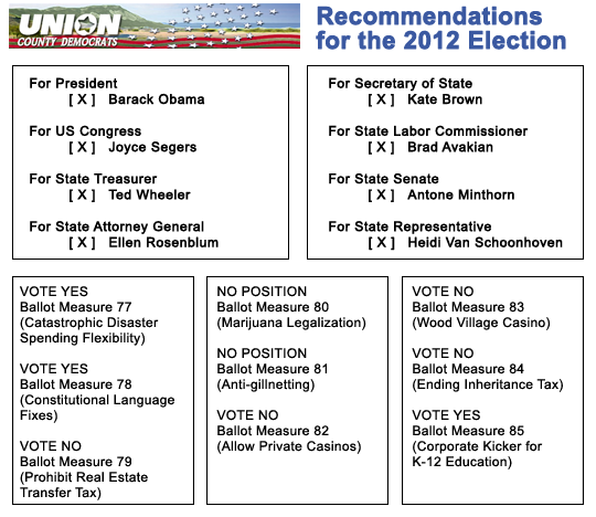 Voting Recommendations 2012